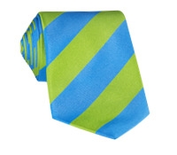 Silk Block Stripe Tie in Lime and Azure