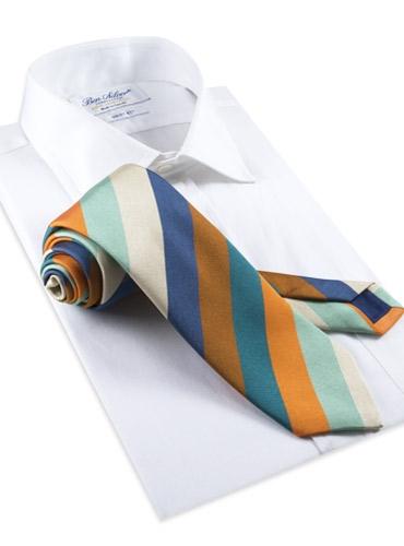 Silk Woven Multi-Stripe Tie in Emerald