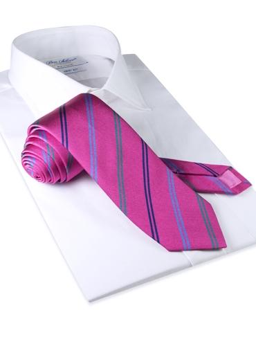 Silk Double Stripe Tie in Azalea