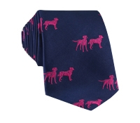 Silk Woven Lab Motif Tie in Navy