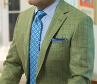 Green Silk & Linen Sport Coat with Multi-Colored Windowpanes