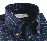 Green, Navy and Magenta Plaid Button Down