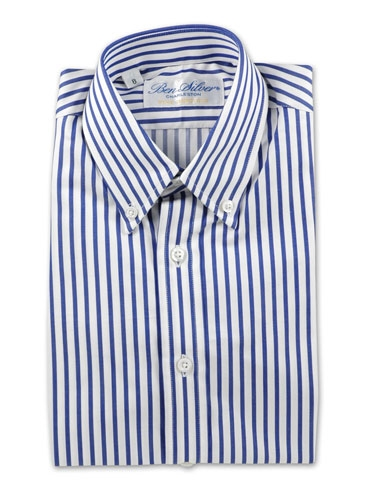 Boys Medium Blue and White Stripe Shirt