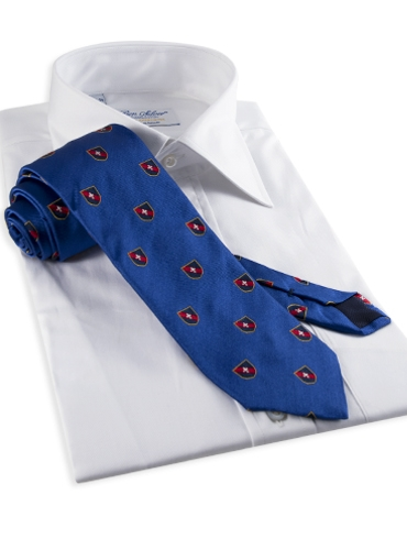 Silk Fanciful Crest Tie in Blue