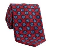 Wool Medallion Printed Tie in Fire