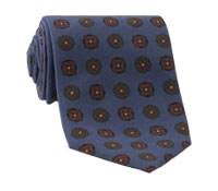 Silk Printed Medallion Motif Tie in Denim
