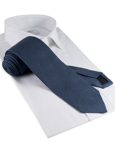 Silk Woven Grenadine Tie in Steel