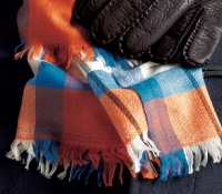 Cashmere Madras Check Scarf in Orange, Cobalt and Ivory