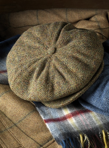 Wool Halifax Cap in Green and Oak Herringbone