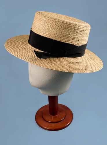 Ladies Straw Boater Hat Black Ribbon