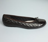 Quilted Flats in Chocolate with Chocolate Patent Toe