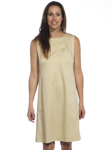 Ladies Poplin Shift Dress in Almond