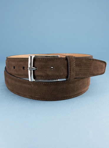 Chocolate Suede Belts with Nickel Buckle