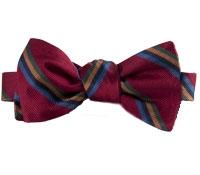 Silk Multi-Stripe Bow Tie in Ruby
