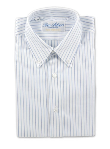 Boys Blue and White Stripe Shirt