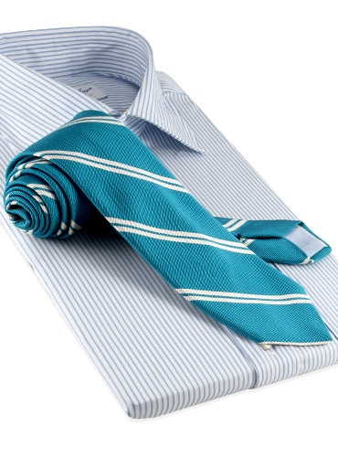 Mogador Silk Double Bar Stripe Tie in Teal
