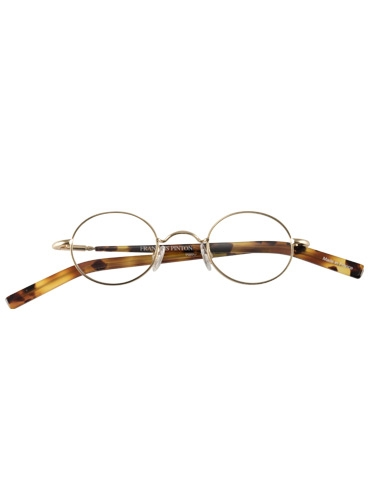 Nearly Oval Wire Frame in Gold with Tortoise Temples