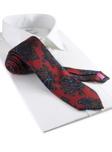 Silk Print Paisley Tie in Cranberry