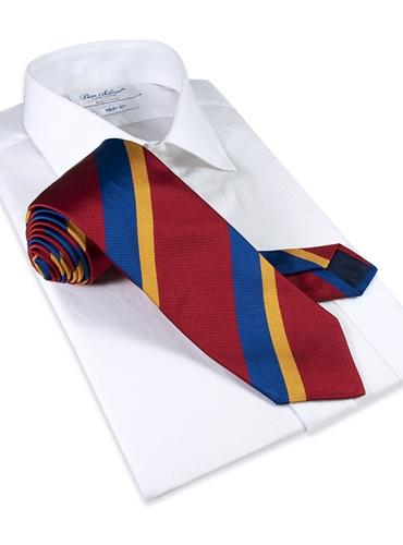 Silk Double Stripe Tie in Ruby