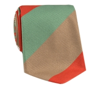 Mogador Woven Multi Stripe Tie in Chilli, Mint and Mocha