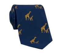 Silk Woven Giraffe Motif Tie in Navy