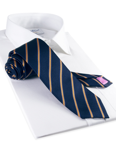 Silk Stripe Tie in Navy and Marigold