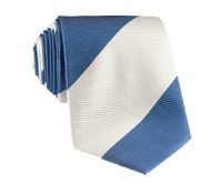 Silk Block Stripe Tie in Denim and White