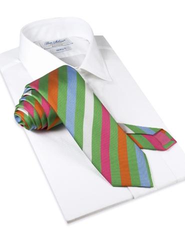 Silk Multi-Striped Tie in Green