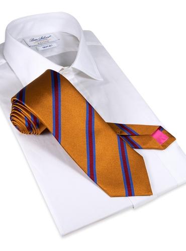 Silk Stripe Tie in Golden