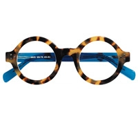 Silver Line Bold Round Frame in Light Tortoise with Blue Temples
