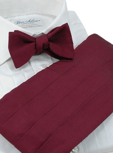 Faille Cummerbund in Claret