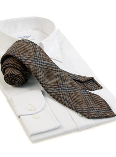 Wool Plaid Tie in Camel