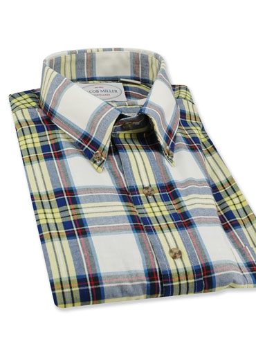 White blue yellow red plaid shirt for Red white and blue plaid shirt