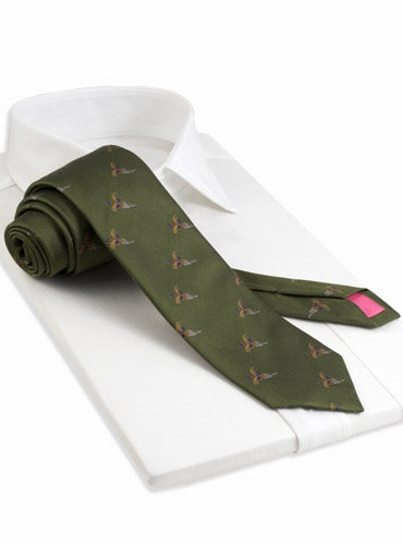 Silk Woven Pheasant in Flight Tie in Olive