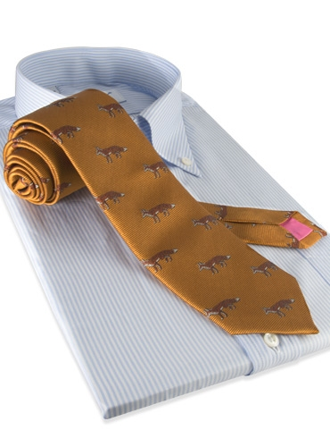 Silk Woven Fox Motif Tie in Oak