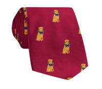 Silk Woven Christmas Dog in New Red