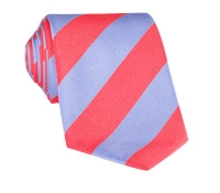 Silk Block Stripe Tie in Strawberry and Sky