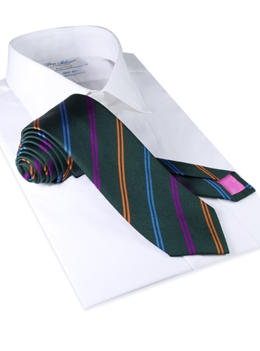 Silk Double Stripe Tie in Forest