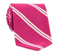 Mogador Silk Double Bar Stripe Tie in Strawberry