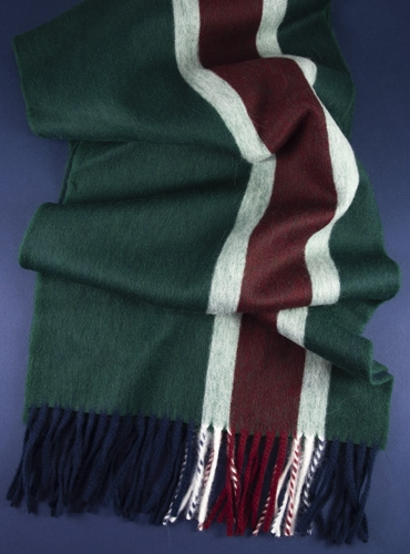 Lambswool and Angora Stripe Scarf in Tartan