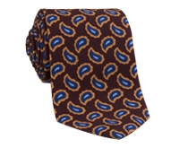 Wool Print Paisley Tie in Wine