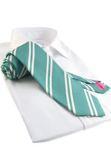 Mogador Silk Double Bar Stripe Tie in Pistachio