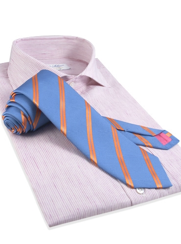 Mogador Silk Double Stripe Tie in Persian with Chili