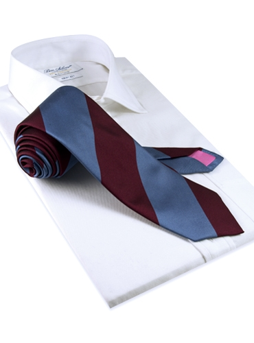 Silk Block Stripe Tie in Cornflower