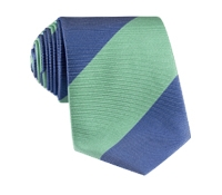 Silk Block Stripe Tie in Sage and Denim