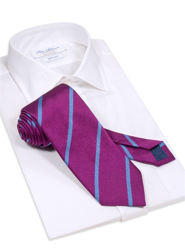 Silk Bar Striped Tie in Purple with Sky Blue