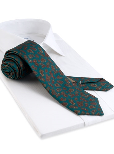 Silk Printed Paisley Tie in Teal