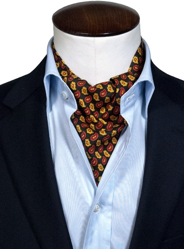 Silk Print Ascot with Small Paisleys in Black