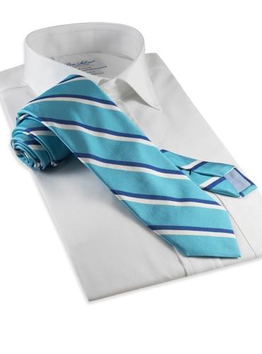 Woven Double Stripe Tie in Aqua