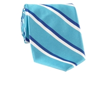 Woven Double Stripe Tie in Aqua